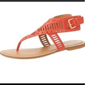 Nine West Orange Gold T Strap Flat Buckle Sandals